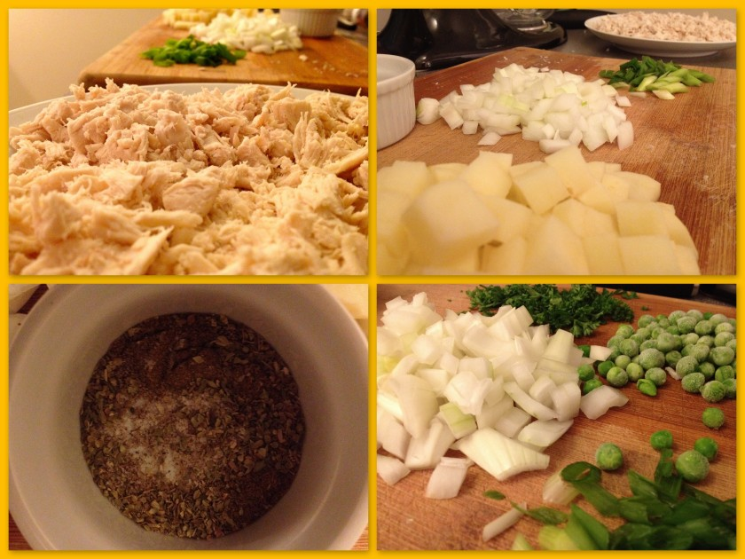 shredded chicken, diced potato, onion, green onion, peas and spices