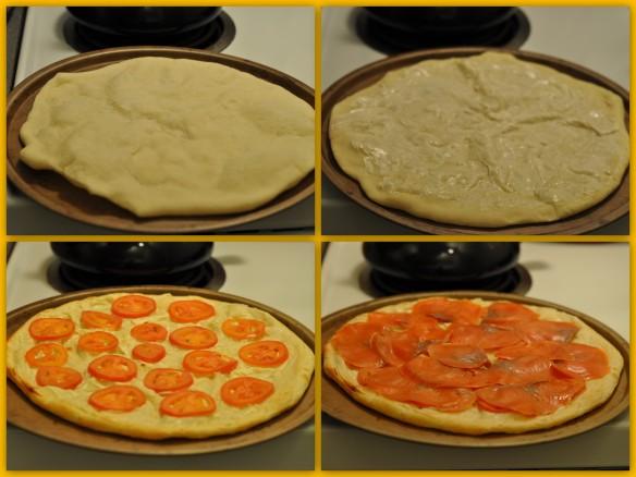 Smoked Salmon Pizza assembly