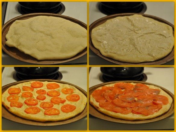 Smoked Salmon Pizza assembly