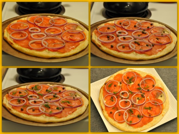 Smoked salmon Pizza assembly #2