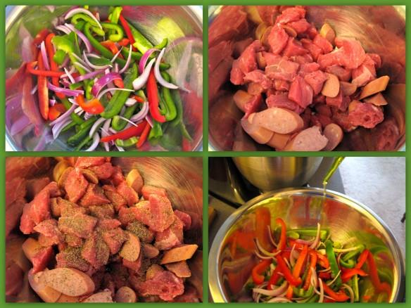 Peppers, onions, steak