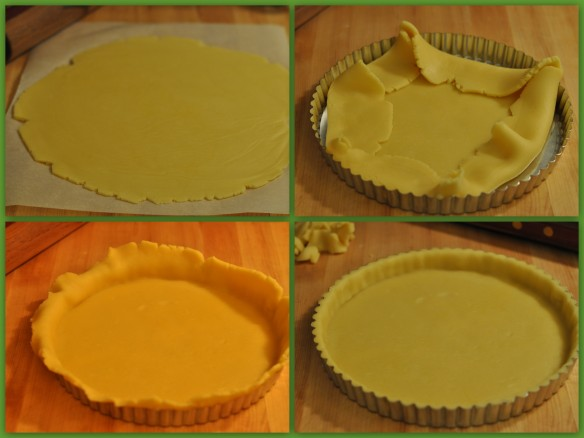 rolling and lining a tart tin with shortcrust pastry