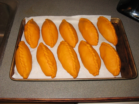Halloween Saltenas ready for the oven! (we used a little too much regular food colouring this batch)
