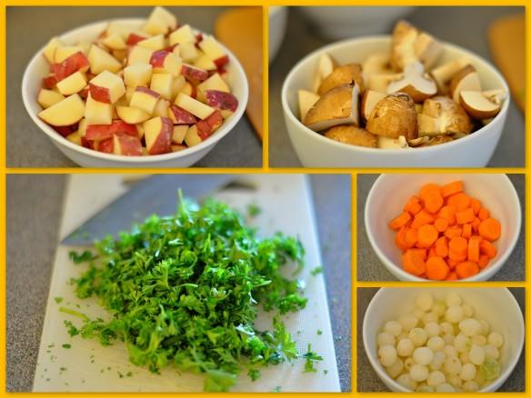Red potatoes, crimini mushrooms, carrots, pearl onions, parsley