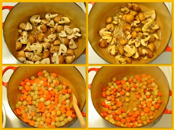 crimini mushrooms, carrots and pearl onions