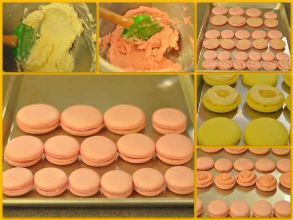 filling the macarons