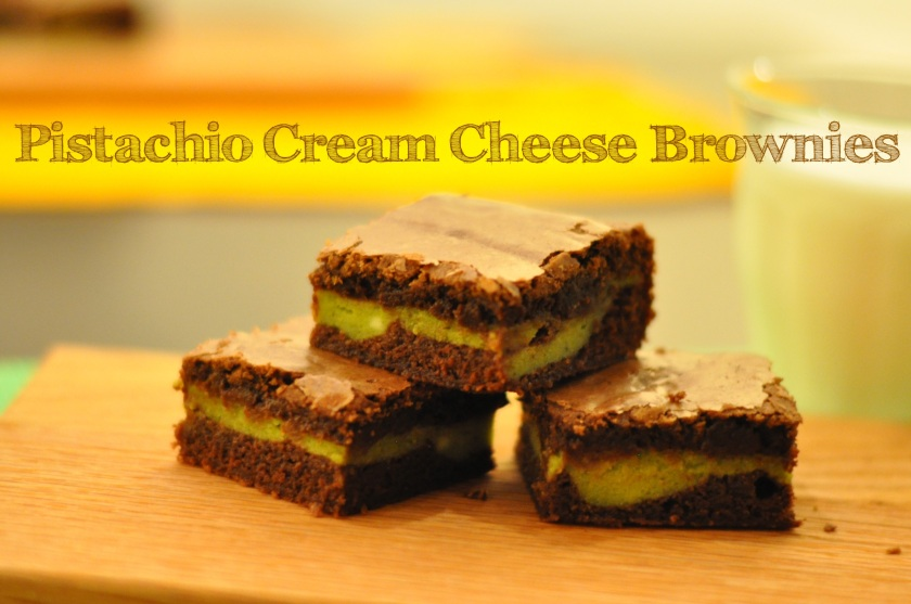 Pistachio Cream Cheese Brownies