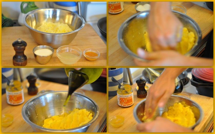 Mixing the potato 'dough'